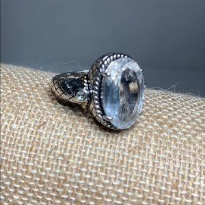Sterling 14k White Sapphire Rope Ring
